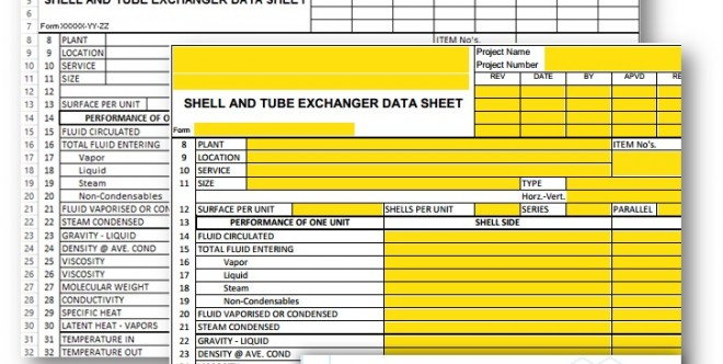 Shell and Tube Exchanger Data Sheet – Excel Sheet and PDF Form