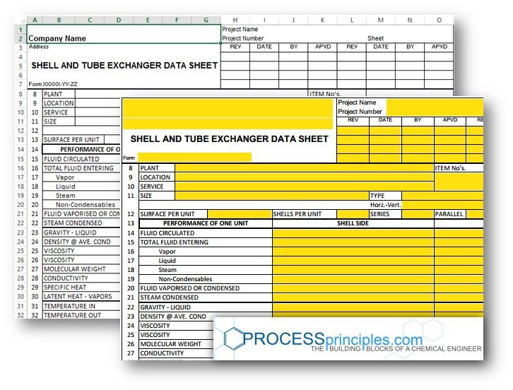 Shell and Tube Exchanger Data Sheet - Excel and PDF From