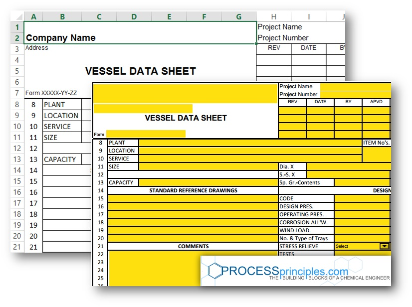 Vessel Data Sheet  Excel And Pdf Form